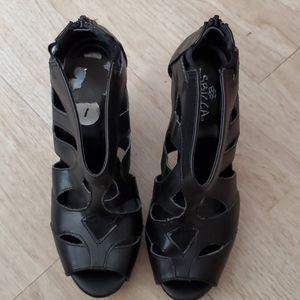 Black Zip up Wedges